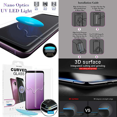 Nano Optics Dome 3D Curved Samsung Galaxy S9 S8 Plus Note 8 9 Tempered Glass