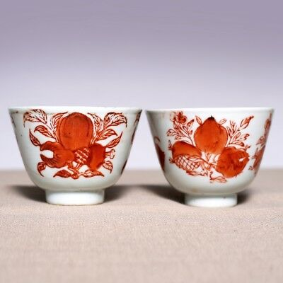 A Pair of Chinese Porcelain Qing Dynasty Antique Alum red color Old Cup JZ273