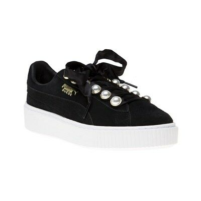 New Womens Puma Black Suede Platform Bling Trainers Court Lace Up
