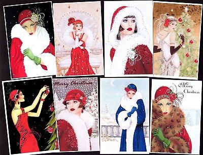 GORGEOUS CHRISTMAS 1920's CARD TOPPERS x 8 – Sophisticated Classy