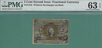 5 Cent SECOND ISSUE FRACTIONAL CURRENCY - Fr 1232 - PMG CU 63 - 5 Cent 2nd ISSUE
