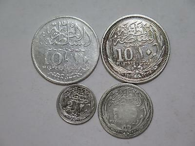 Egypt 10 5 2 Piastres 1917 1920 Mixed Type Silver Old World Coin Collection Lot