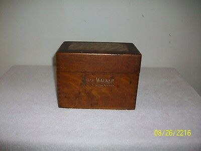 Antique Shaw Walker Oak Recipe Box  Lots of Old Recipes 1910 to 1980 War Time