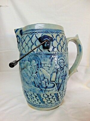 ANTIQUE vintage LARGE HANDMADE BEER PITCHER folk art pottery GERMANY $29.95 nr