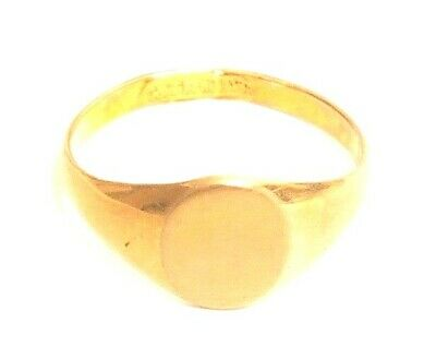 Vintage Blank Monogram Gold Plated 18KT HGE ESPO Esposito Signet Ring A807