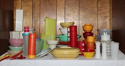 Huge Lot of 114 pcs: VTG! Tupperware Cups Mugs Salt&Pepper Spaghetti Containers