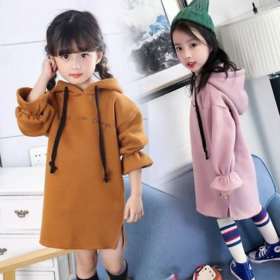 Toddler Baby Girls Hooded Dress Princess Knitted Autumn Winter Tops Dresses