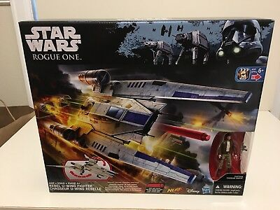 Star Wars Rogue One Rebel U-Wing Fighter Nerf and Cassian Andor Figure, NEW