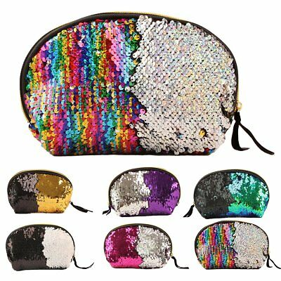 Women Sequin Makeup Bag Reversible Glitter Cosmetic Pouch Evening Party Handbag