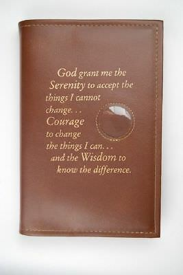 Alcoholics Anonymous AA Big Book Cover Serenity Brown Medallion Chip Holder