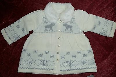 Baby Girls Cream with Silver Reindeer and Snowflakes detail Knitted/Fleece lined