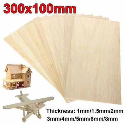 10pcs Wooden Plate Model Balsa Wood Sheet DIY House Ship Aircraft 300*100mm