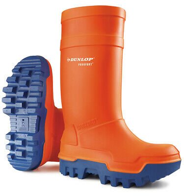 Dunlop Purofort Thermo Plus Orange Safety Wellington Boots Steel ToeCap 6-13