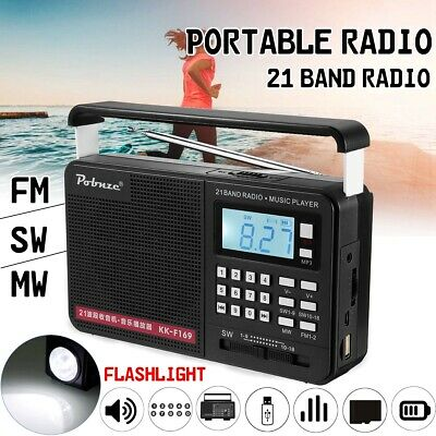 Portable Radio LCD Digital AM FM SW USB TF Card MP3 Player Speaker Rechargeable
