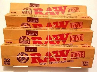 4 x 32 Pcs RAW Classic Hemp 1 1/4, Pre Rolled Cones Rolling Paper. 128 PCS TOTAL