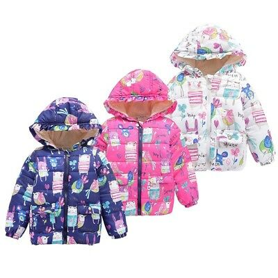 2-7Y Toddler Baby Kids Boys Girl Warm Hooded Floral Coat Jacket Outwear Winter