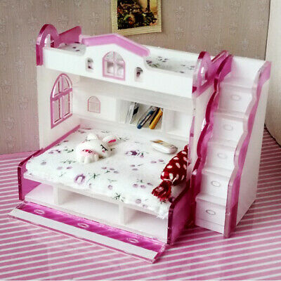 1/12 Children Bunk Bed Furniture Dollhouse Bedroom Kids Pretend Play Toy #2