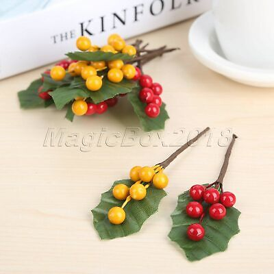 10x Artificial Berries Branch Leaves DIY Fake Flowers Stamens Fruits Decoration