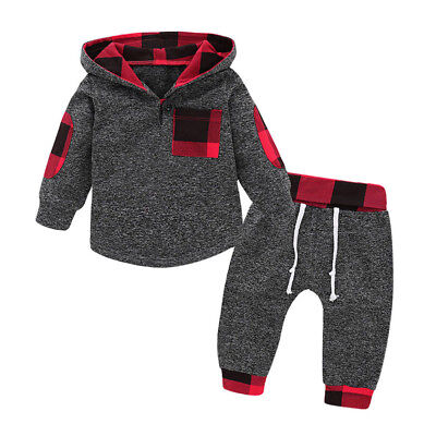 2PCS Baby Boy Girl Warm Sweater Hoodies+Pants Outfits Toddler Clothes Tracksuit