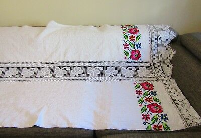 Vintage hand woven Romanian traditional  tablecloth, hand made ethnic tablecloth
