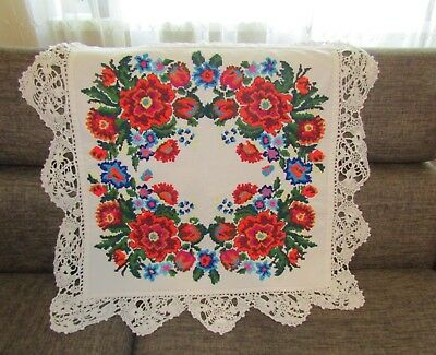 Vintage hand stitch Romanian tablecloth decorative textile handmade center table