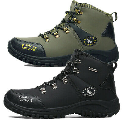 Mens Leather Waterproof Walking Hiking Trail Ankle Boots High Top Non-Slip Shoes