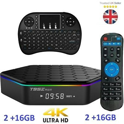T95Z Plus 2Gb/16Gb 4K Uhd S912 Octa Core Dual Wifi Android 7.1 Tv Box & Keyboard