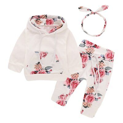 3pcs Newborn Baby Girl Clothes Hooded Tops Pants Headband Outfits Sets Tracksuit