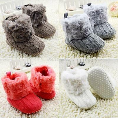 Baby Girl Winter Crochet Knit Snow Boots Booties Kid Warm Cozy Crib Shoes 0-18M
