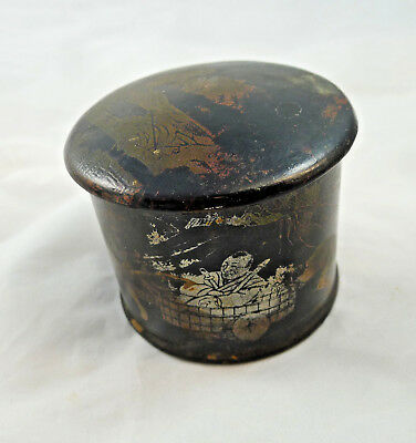Antique Chinese China Japan ? Laquer Face Powder Box 1880-1910 Beauty Buddha