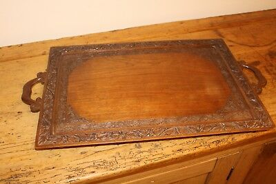 Wooden Carved Tray In Very Good Condition With Runners