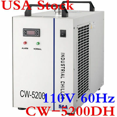 USA Stock! 110V 60Hz CW-5200DH Water Chiller for 8KW Spindle / CO2 Laser Tube