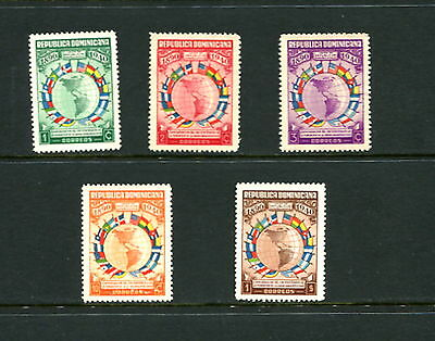 Dominican Republic #351-5 flags maps MINT NO GUM NOT HINGED 1940 5v. MNG -D526