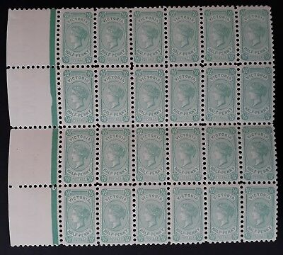 Rare 1905- Victoria Australia Blk of 24 X 1/2d Blue green Postage stamps Perf 11