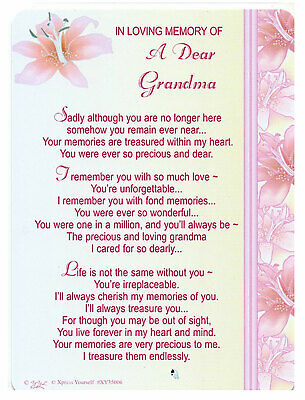 Grandma Grave Cards In Loving Memory Bereavement Graveside Memorial Keepsake
