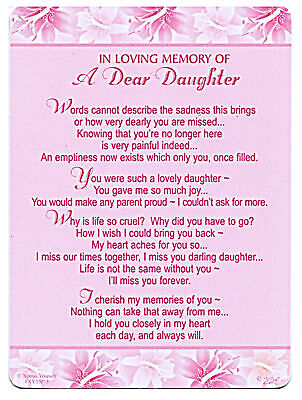 Dear Daughter Grave Cards In Loving Memory Graveside Memorial Keepsake Daughter