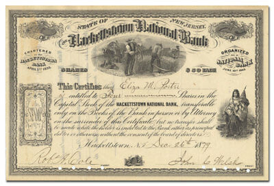 Hackettstown National Bank Stock Certificate (New Jersey)