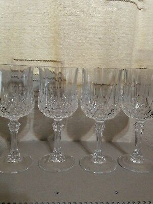 "4 CRISTAL D'ARQUES LONGCHAMP LEAD CRYSTAL WINE Glasses 6.5"" Tall"