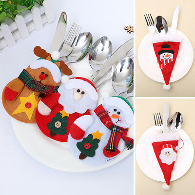 Knife and Fork Set Bag Holder Xmas Dinner Table Layout Supplies Christmas Decor