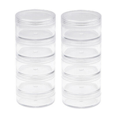 2X 5 Layer Plastic Clear Make Up Small Items Storage Box Stackable Container