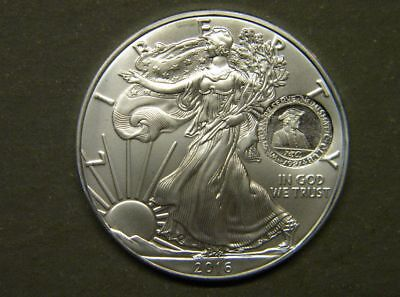 Original 2016 U.S. Silver Eagle with Gallery Mint GMM WRNC Counterstamp