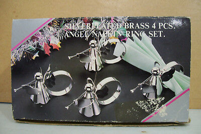 Vintage Silver Plated over Brass Angel Napkin Holders Rings Set Of 4 Christmas