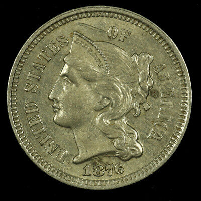 Three Cent Piece Nickel. 1876 Uncirculated. Lot # 9018-85-076