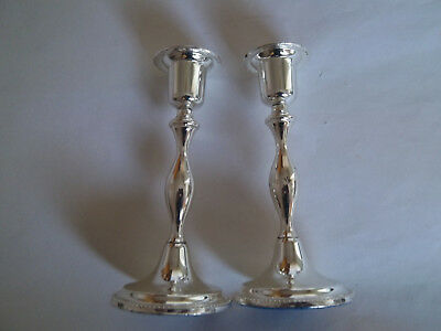 Two Identical Silver Coloured Candlesticks, Unused, With Felt Based Stands