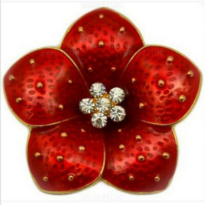 Burgundy Red Poppy Flower Women Lady Brooch Coat Christmas Pin Accessory 6A
