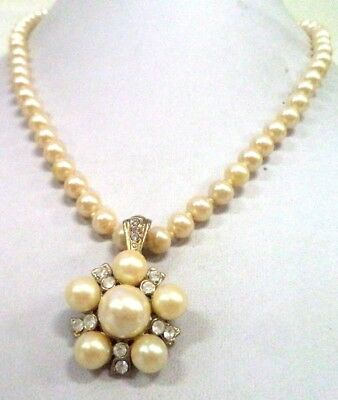 """Stunning Vintage Estate Ind Knotted Faux Pearl Beaded 18"""" Necklace!!! 1457D"""