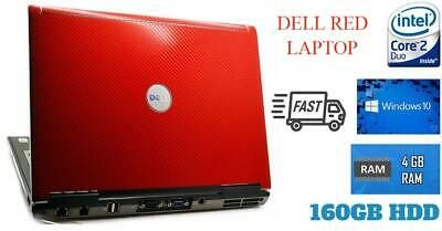 Cheap Windows 10 Red Laptop Dell Intel Core 2 Duo 4GB RAM 160GB HDD DVD WiFi
