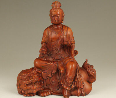 Antique Old chinese boxwood hand carving Kwan-yin Leo statue Home decoration