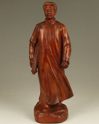 Rare chinese Old boxwood hand carving zhugeliang Great person statue noble gift