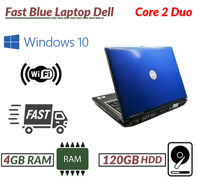 Cheap Windows 10 Laptop Blue Dell Intel Core 2 Duo  4GB RAM 120GB HDD WiFi DVD